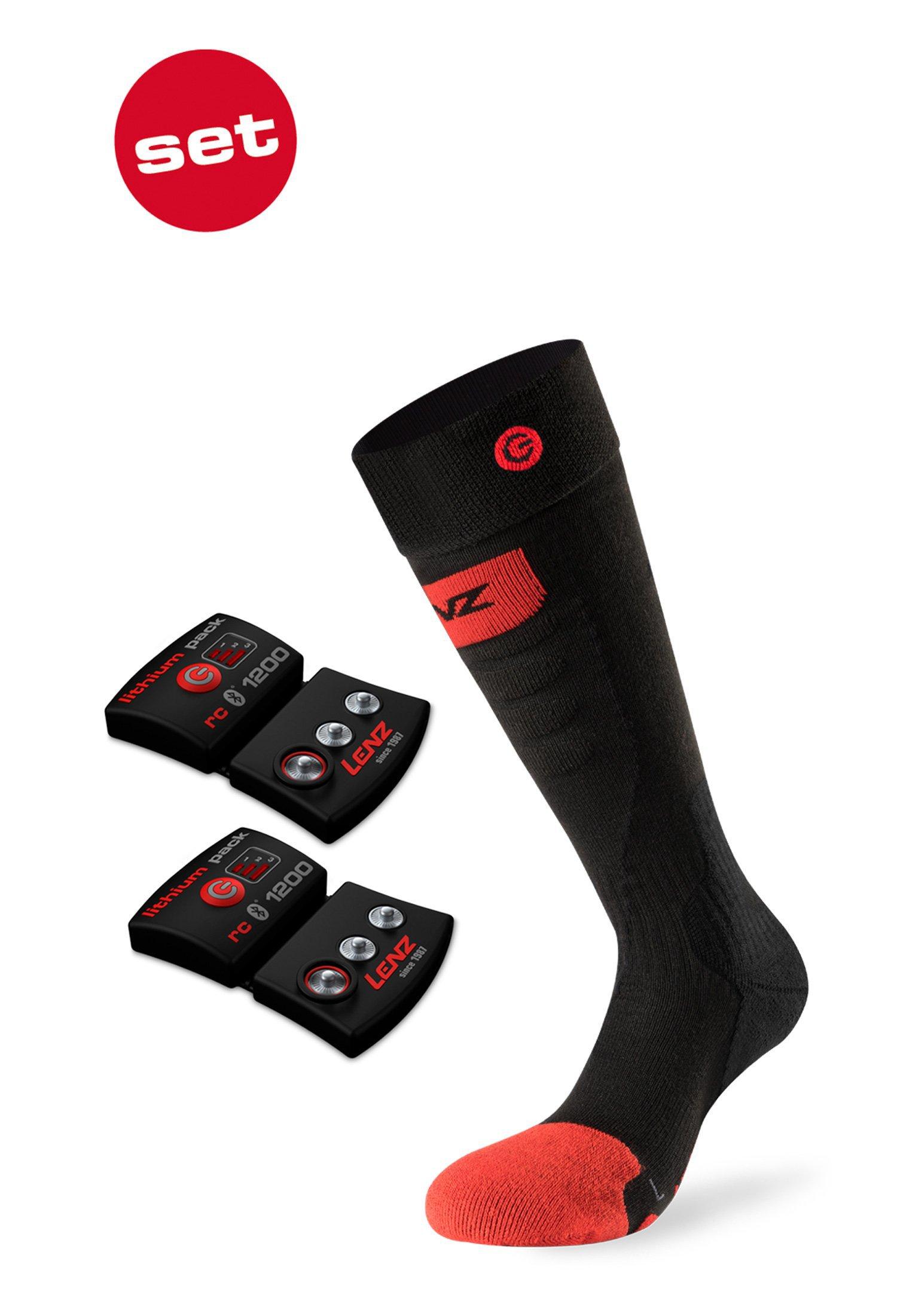 SET - Vyhrievané ponožky Slim Fit LENZ Heat Socks 5.0 Toe Cap + batérie lithium pack rcB 1200